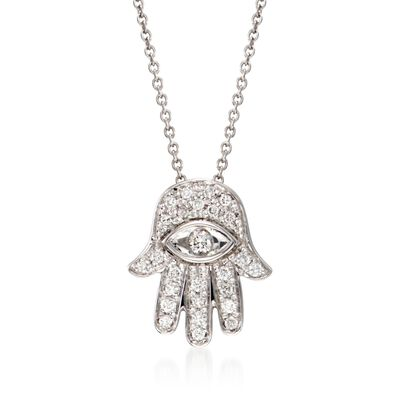 "Roberto Coin .18 ct. t.w. Diamond ""Hamsa"" Pendant Necklace in 18kt White Gold, , default"