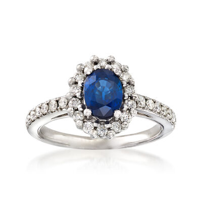 C. 1990 Vintage 1.10 Carat Blue Topaz and .50 ct. t.w. Diamond Ring in 14kt White Gold, , default