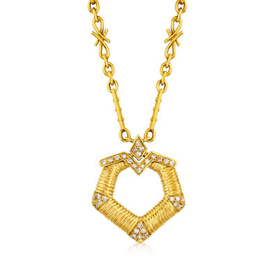 C. 1970 Vintage .40 ct. t.w. Diamond Circle Drop Necklace in 18kt Yellow Gold