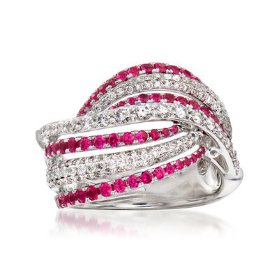 C. 1990 Vintage Piero Milano .87 ct. t.w. Diamond and .85 ct. t.w. Ruby Wave Ring in 18kt White Gold, , default