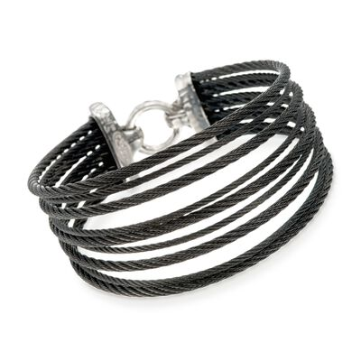 "ALOR ""Noir"" Black Stainless Steel Multi-Cable Bracelet with 18kt Yellow Gold, , default"
