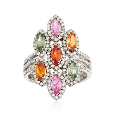 C.1990 Vintage 2.10 ct. t.w. Multicolored Sapphire and .75 ct. t.w. Diamond Ring in 14kt White Gold