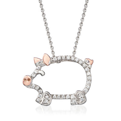 Roberto Coin .15 ct. t.w. Diamond Farm Pig Pendant Necklace in 18kt Two-Tone Gold