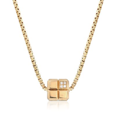 C. 1990 Vintage Chopard Square Slide Necklace with Diamond Accents in 18kt Gold, , default