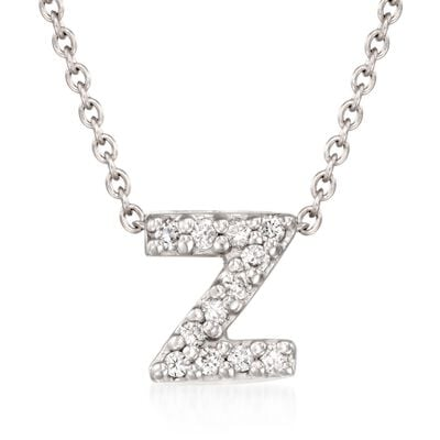 "Roberto Coin ""Tiny Treasures"" Diamond Accent Initial ""Z"" Necklace in 18kt White Gold, , default"