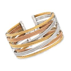 "ALOR ""Classique"" Tri-Colored Stainless Steel Cuff Bracelet With Diamond Accent, , default"
