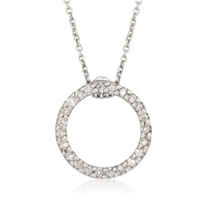 Roberto Coin .10 Carat Total Weight Diamond Circle Necklace in 18-Karat White Gold, , default