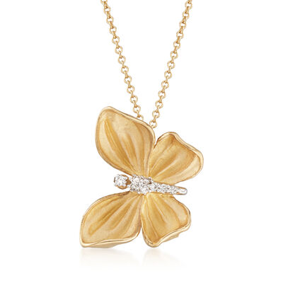 Simon G. Diamond-Accented Butterfly Drop Necklace in 18kt Yellow Gold