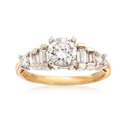 C. 1980 Vintage 1.35 ct. t.w. CZ Round and Baguette Ring in 10kt Yellow Gold, , default