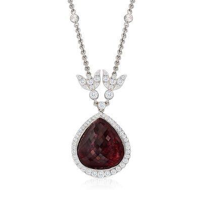 C. 1990 Vintage 39.85 Carat Pink Tourmaline and 2.35 ct. t.w. Diamond Necklace in 18kt White Gold