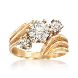 C. 1980 Vintage 2.15 ct. t.w. Diamond Three-Stone Bypass Ring in 14kt Yellow Gold, , default