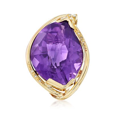 C. 1980 Vintage 61.55 Carat Amethyst and .15 ct. t.w. Diamond Ring in 18kt Yellow Gold, , default