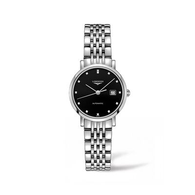 Longines Elegant Women's 29mm Automatic Stainless Steel Watch with Diamond Accents
