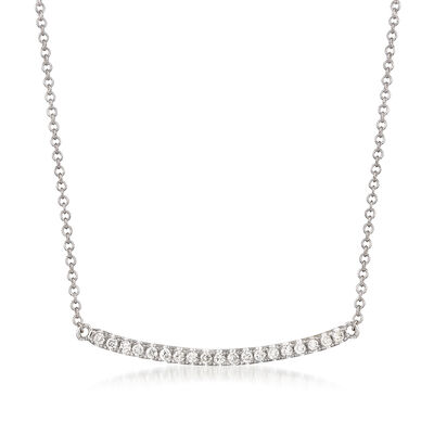Gabriel Designs .19 ct. t.w. Diamond Curved Bar Necklace in 14kt White Gold, , default