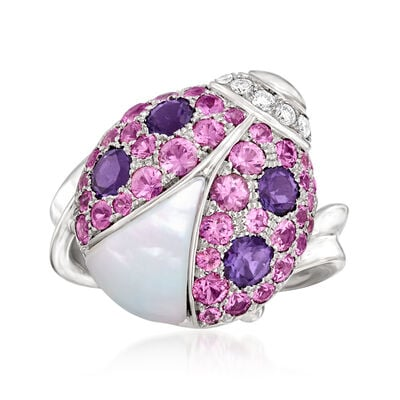 C. 2000 Vintage Mother-Of-Pearl and 2.30 ct. t.w. Multi-Gemstone Ladybug Ring with .20 ct. t.w. Diamonds in 18kt White Gold
