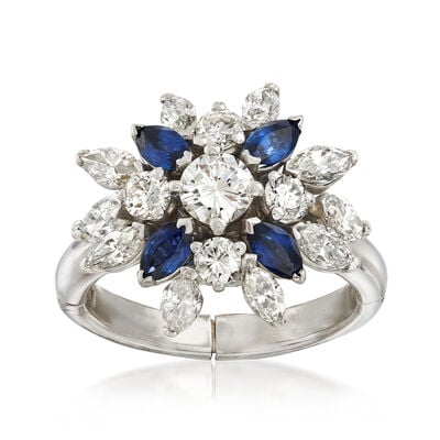 C. 1970 Vintage 2.00 ct. t.w. Diamond and .80 ct. t.w. Sapphire Cluster Ring in 14kt White Gold, , default