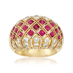 C. 1980 Vintage 1.75 ct. t.w. Ruby and 1.40 ct. t.w. Diamond Dome Ring in 18kt Yellow Gold, , default