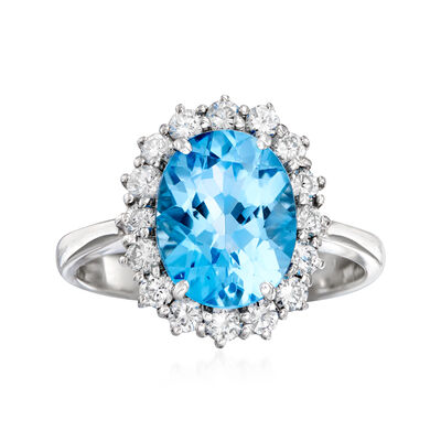 C. 1980 Vintage 3.65 Carat Blue Topaz and .55 ct. t.w. Diamond Ring in 18kt White Gold