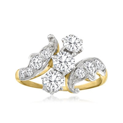 C. 1930 Vintage 1.10 ct. t.w. Diamond Bypass Ring in 14kt Yellow Gold