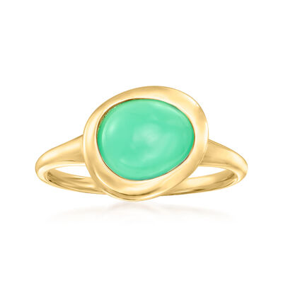 """C. 1980 Vintage Fred """"Belles Rives"""" Green Chrysoprase Ring in 18kt Yellow Gold"""