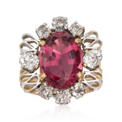 C. 1970 Vintage 5.50 Carat Pink Tourmaline and 1.50 ct. t.w. Diamond Ring in 14kt Yellow Gold, , default