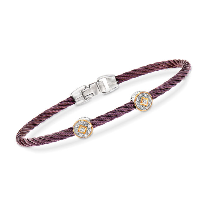 """ALOR """"Shades of Alor"""" Burgundy Carnation Cable Station Bracelet with Diamond Accents in Stainless Steel and 18kt Yellow and White Gold. 7"""", , default"""