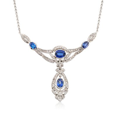 C. 1990 Vintage 5.10 ct. t.w. Sapphire and 2.00 ct. t.w. Diamond Drop Necklace in 14kt White Gold, , default