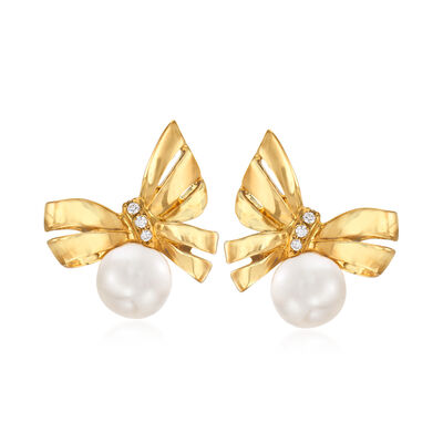 Mikimoto 7mm 'A+' Akoya Pearl Bow Stud Earrings with Diamond Accents in 18kt Yellow Gold, , default
