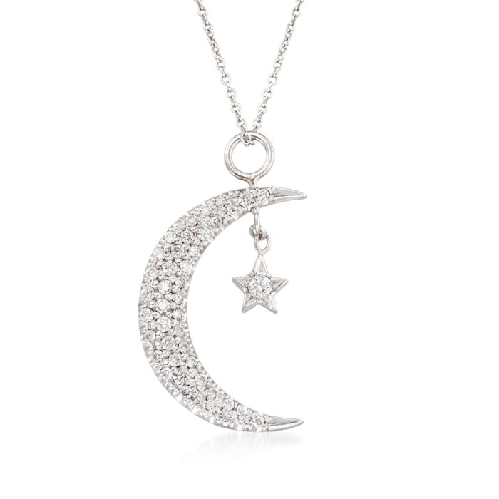 "Roberto Coin .29 Carat Total Weight Diamond Sun and Moon Necklace in 18-Karat White Gold. 16"", , default"