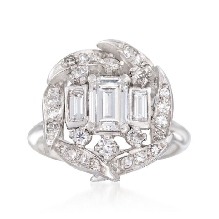 C. 1990 Vintage 1.15 ct. t.w. Multi-Cut Diamond Ring in 14kt White Gold. Size 4.75, , default