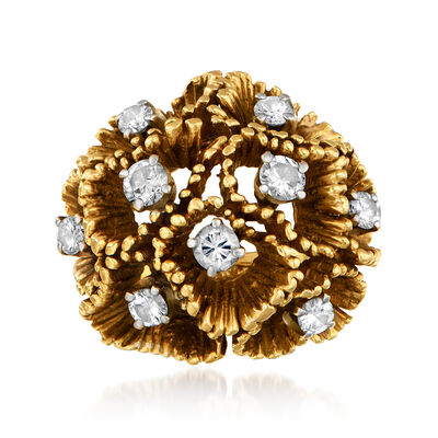 C. 1970 Vintage 1.10 ct. t.w. Diamond Flower Ring in 14kt Yellow Gold and 18kt Yellow Gold