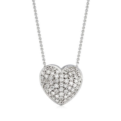 C. 1990 Vintage 1.20 ct. t.w. Diamond Heart Necklace in 14kt White and Yellow Gold, , default