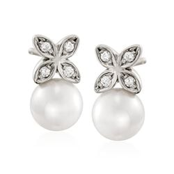 Mikimoto 5.5mm A+ Akoya Pearl Floral Earrings With Diamond Accents in 18kt White Gold, , default