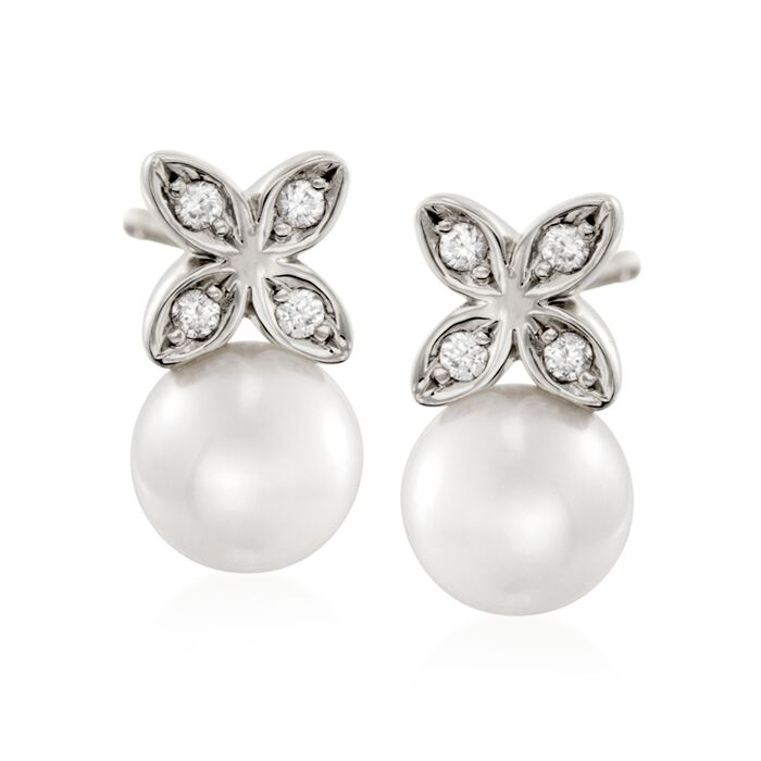 Mikimoto Akoya Pearl and Diamond Earrings in 18-Karat White Gold, , default
