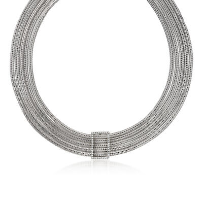"Phillip Gavriel ""Woven"" 1.50 ct. t.w. White Sapphire Collar Necklace in Sterling Silver"