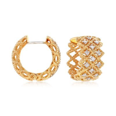 "Roberto Coin ""Barocco"" .41 ct. t.w. Diamond Three-Row Hoop Earrings in 18kt Yellow Gold, , default"