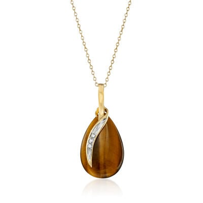 C. 1980 Vintage Tiger's Eye Pendant Necklace with Diamond Accents in 14kt Yellow Gold, , default