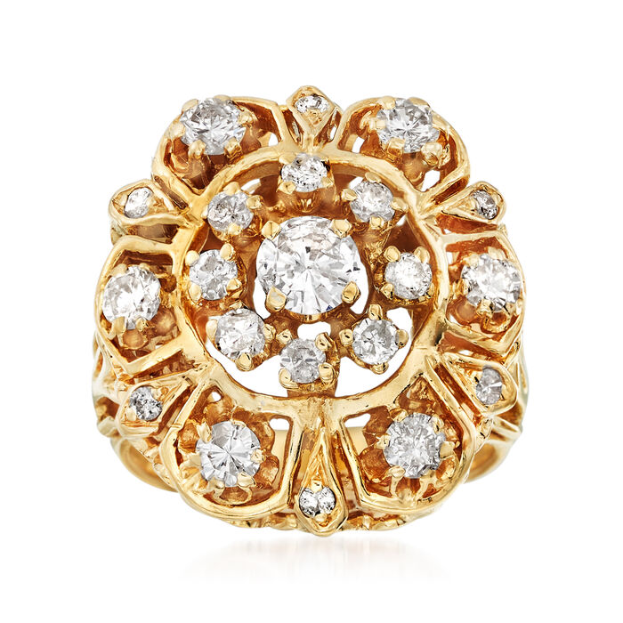 C. 1970 Vintage 1.25 ct. t.w. Diamond Cluster Cocktail Ring in 14kt Yellow Gold
