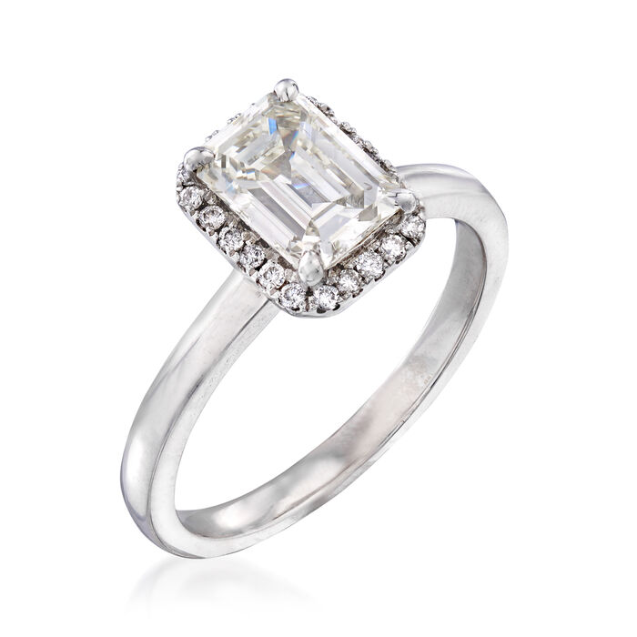 1.32 ct. t.w. Diamond Halo Ring in 18kt White Gold
