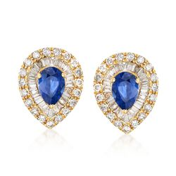 1.60 ct. t.w. Sapphire and 1.12 ct. t.w. Diamond Teardrop Earrings in 18kt Yellow Gold, , default