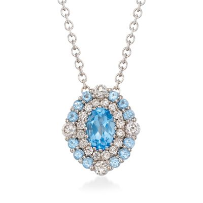 Gregg Ruth .70 ct. t.w. Blue Topaz and .34 ct. t.w. Diamond Necklace in 18kt White Gold  , , default