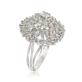 C. 1990 Vintage 3.20 ct. t.w. Diamond Cluster Ring in 14kt White Gold. Size 8