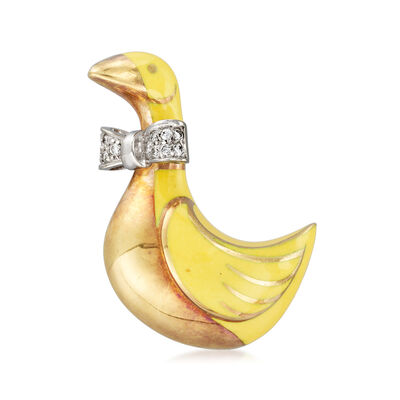 C. 1970 Vintage .12 ct. t.w. Diamond Duck Pin in 18kt Two-Tone Gold, , default