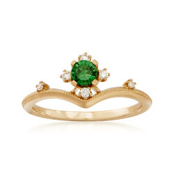 Simon G. .26 Carat Tsavorite Ring With Diamond Accents in 18kt Yellow Gold, , default