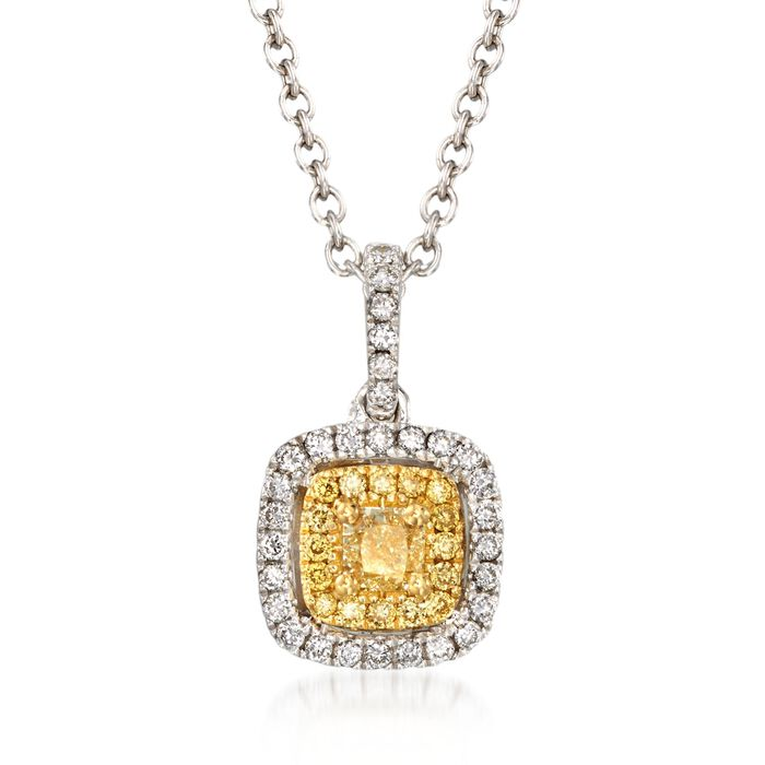 Gregg Ruth .43 Carat Total Weight Yellow and White Diamond Necklace in 18-Karat White Gold. 18""