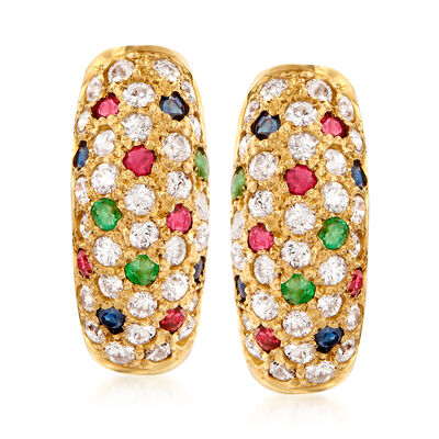 C. 1990 Vintage 1.80 ct. t.w. CZ and .73 ct. t.w. Multi-Gem Earrings in 14kt Yellow Gold, , default
