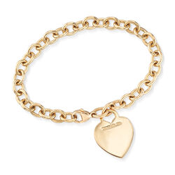 C. 1990 Vintage Tiffany Jewelry 18kt Yellow Gold Heart Tag Bracelet, , default