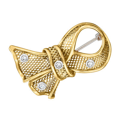 C. 1990 Vintage 18kt Yellow Gold Bow Pin with Diamond Accents