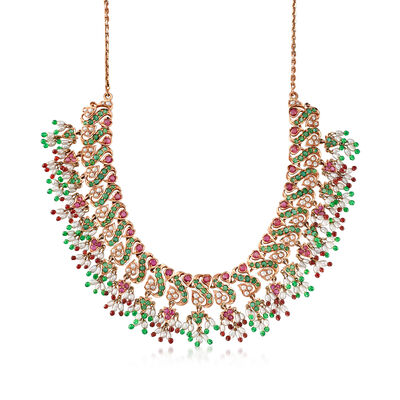 C. 1990 Vintage 13.50 ct. t.w. Multi-Gem and Cultured Pearl Necklace with Glass Beads in 14kt Rose Gold, , default