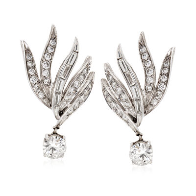 C. 1960 Vintage 2.95 ct. t.w. Diamond Clip-On Drop Earrings in 14kt White Gold